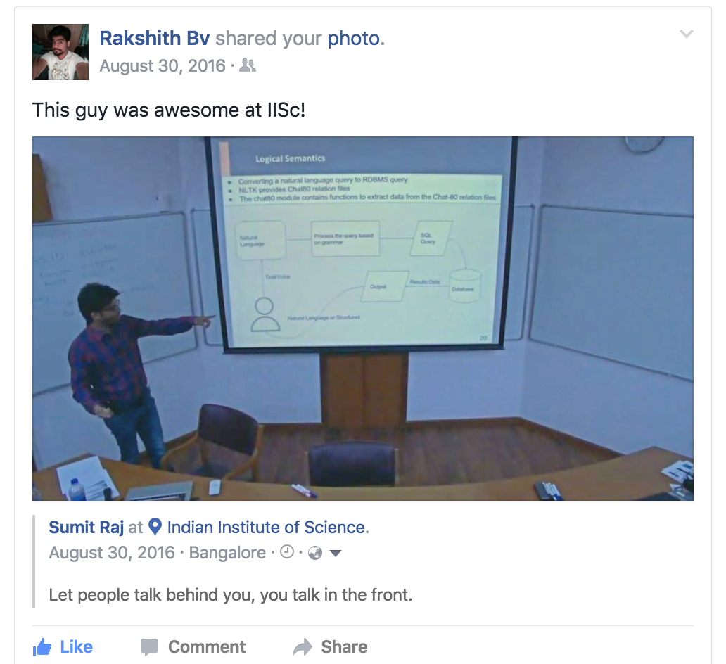 Appreciation about the talk at IISc on Facebook