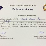 Certificate of Appreciation by IISc., Bangalore